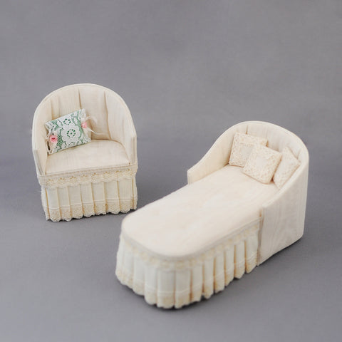 Chaise and Chair, Cream Silk