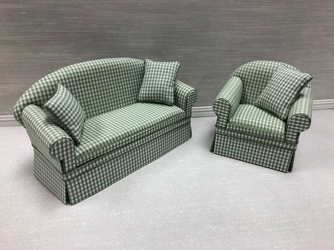 Green and White Check Sofa and Chair