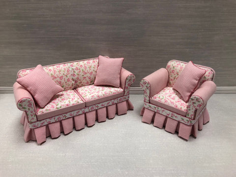 Pink Floral Shabby Chic Sofa and Chair