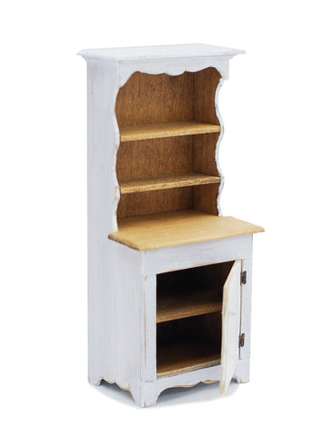 Country Style Hutch, Small, Distressed White
