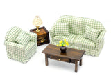 Green and White Check Living Room Set