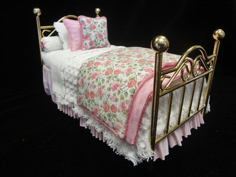 Pink and White Brass Twin Bed