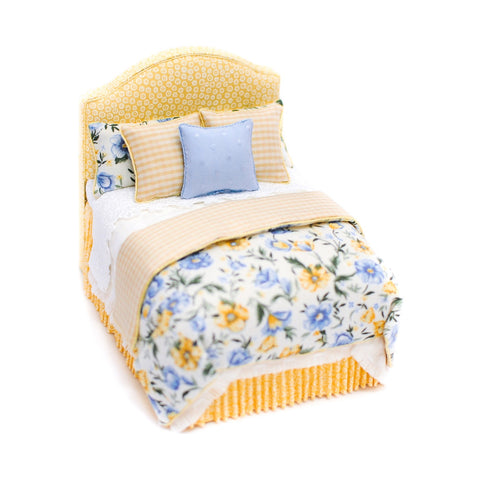 Bed, Yellow and Blue with Upholstered Headboard