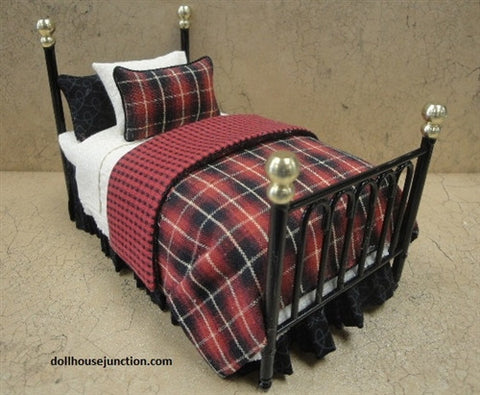 Twin Bed, Black Metal Frame, Linens by Lorraine Scuderi