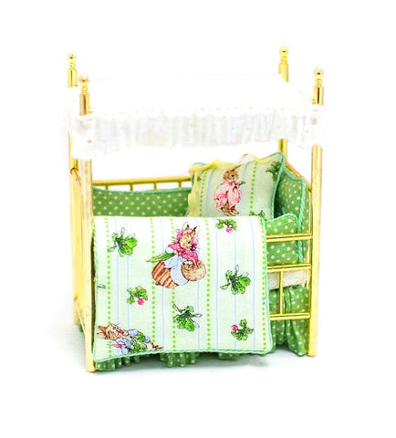Brass Crib with Peter Rabbit Theme