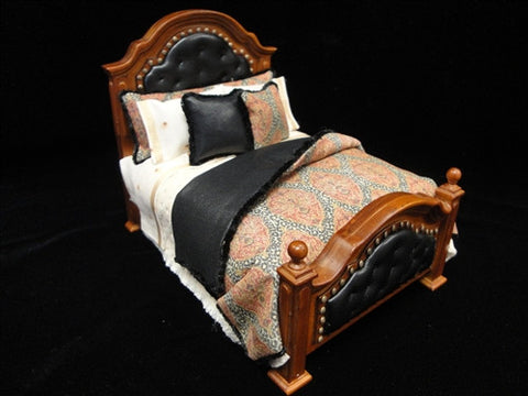 Lorraine Scuderi Leather and Paisley Bed
