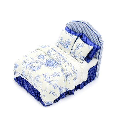 Twin Bed, Blue and White Upholstered Headboard