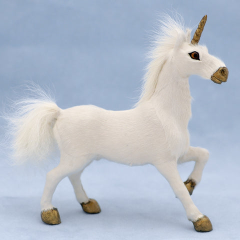 Unicorn with Golden Hooves and Fluffy Tail