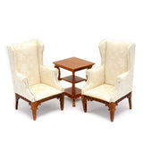 Pair of Wing Chairs With Table, Walnut and White Silk