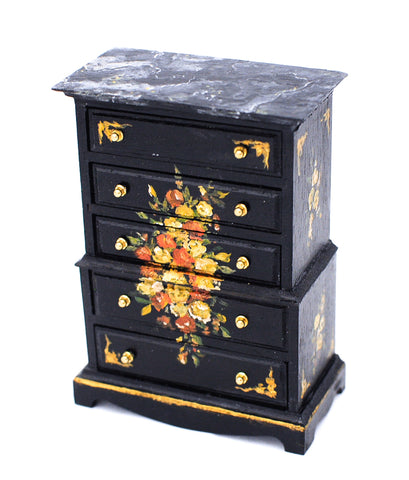 Hand Painted Chest of Drawers, Ebony and Flowers