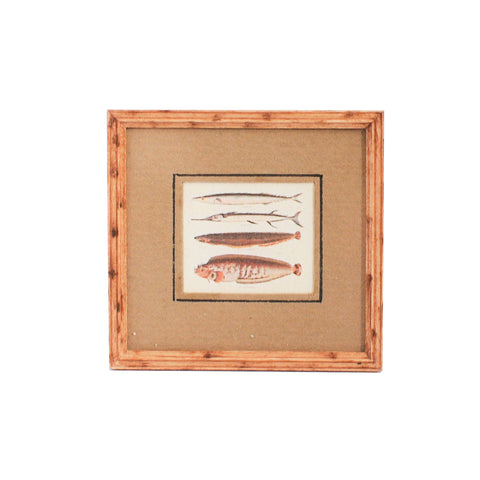 Fish Print C, Matted and Framed