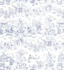 Playland Toile Lilac Wallpaper