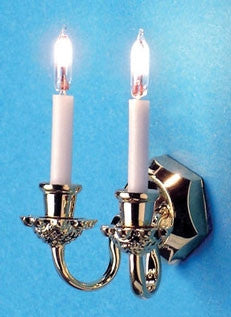 Double Candle Sconce with White Shade