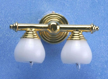 BRASS DOUBLE WALL LAMP W/WHITE SHADE 12V
