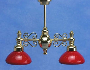 Billiard Lamp with Red Shades