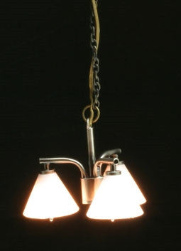 Modern Chandelier W/3 Down Shade, Pewter ON SALE!