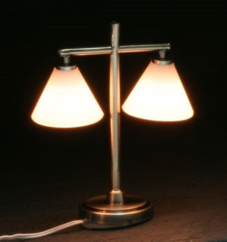 Modern Table Lamp W/2 Down Shade, Pewter ON SALE