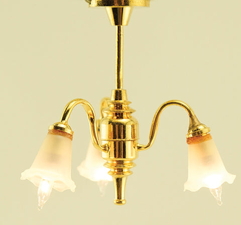 Three Light Chandelier, Downward Tulip Shades