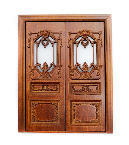 Queen Anne Double Exterior Door, New Walnut Finish