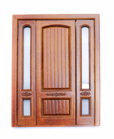 Provincial Double Door With Side Lights, New Walnut Finish