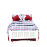 Double Bed, White with Blue