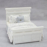 Farm Style Casablanca Bed,  White Grey and Silver Linens