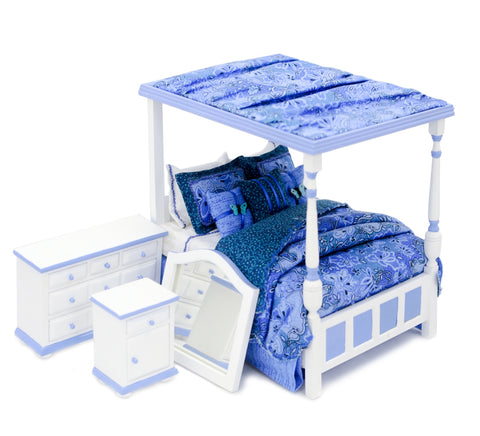 Tester Canopy Bedroom Set, Blue and White