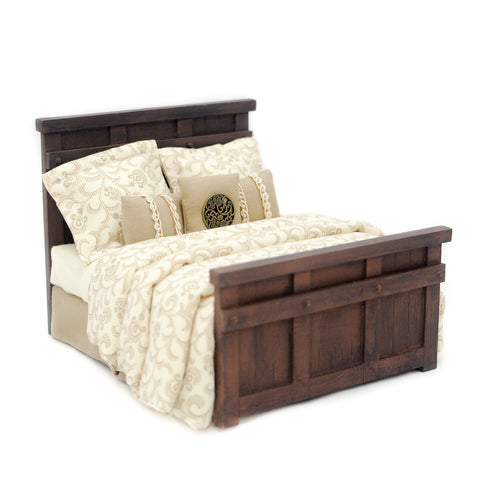 Farmhouse Double Bed, Brown and Beige