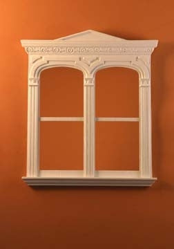 Golden Gate Decorated Double Window, White