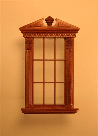Corinthian Carved Single Window, Walnut Finish