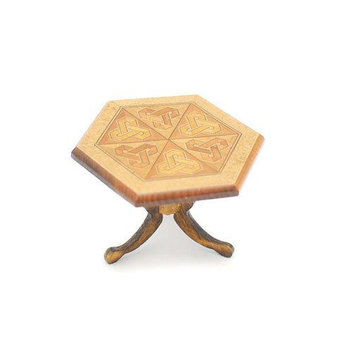 Hexagon Table with Inlay Pattern by Shackman SOLD