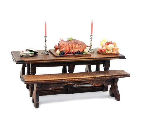 Tudor Style Table and Two Benches