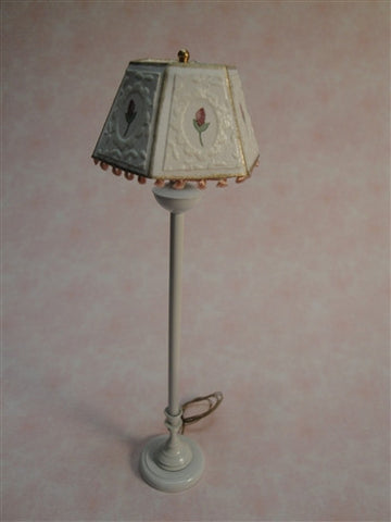 Standing Floor Lamp, Electrified, White with Pink Flower