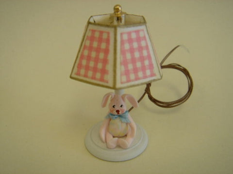 Lamp with Bunny, Pink Check