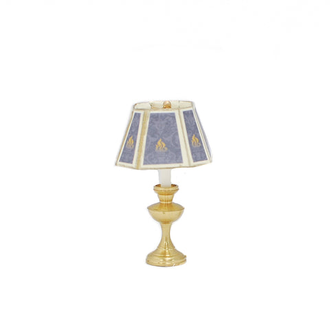 Table Lamp with Hurricane Base, Hexagon Shade, Blue and Gold
