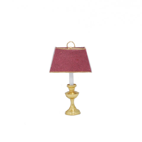 Large Table Lamp, Red Shade