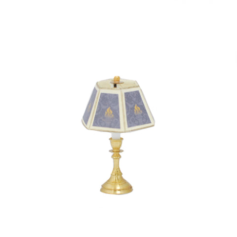Table Lamp, Medium Candlestick Base, Hex Shade, Blue and Gold