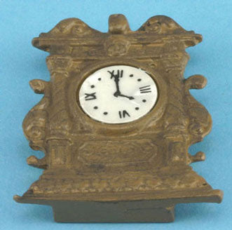 Mantle Clock, Ornate, Brown