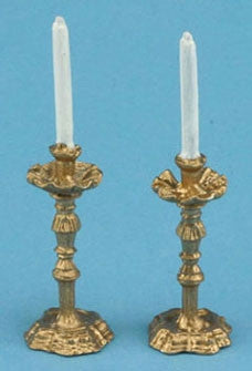 Candlesticks, Gold, Fancy, with White Candles