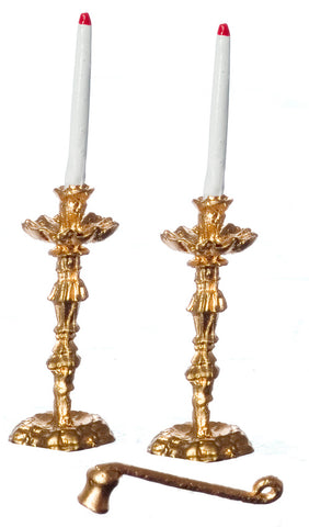Candlesticks, Gold, Ornate, with Candle Snuff