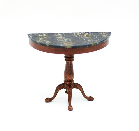 Demi Lune Table with Black Marble
