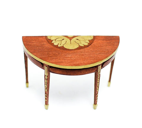Sheraton Style Half Table with Gold Accents