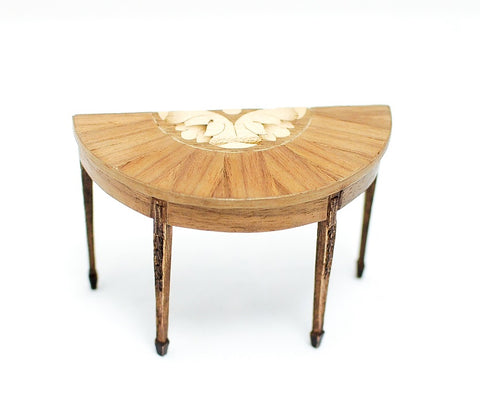 Sheraton Style Half Table with Wood Inlay