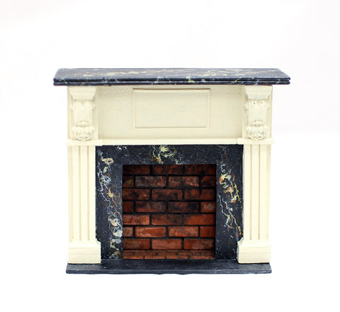 Fireplace with Marble and Brick