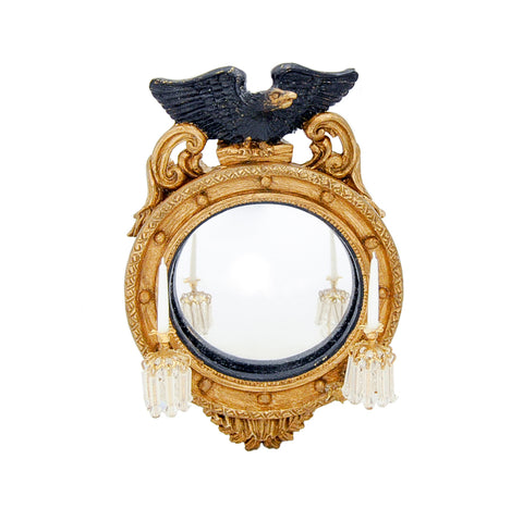 Colonial Convex Mirror with Crystal Sconces
