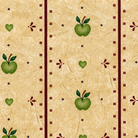 Green Apples and Red Line Prepasted Wallpaper