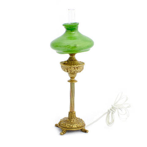 Tall Hurricane Lamp with Green Shade