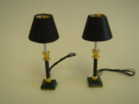 PAIR of Black Candlestick Lamps
