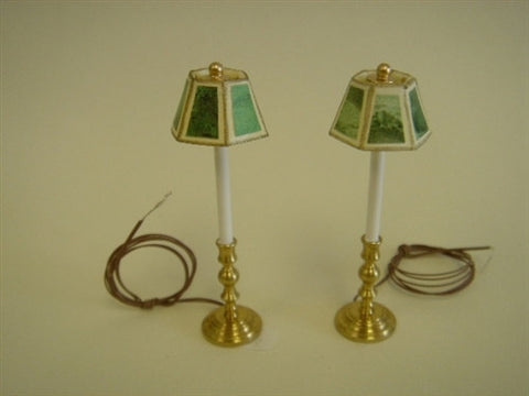 Pair Candle Stick Lamps, Green Marble