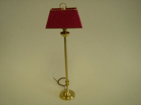 Brass Standing Lamp, Red Shade